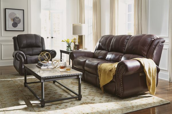 Leather living room set.