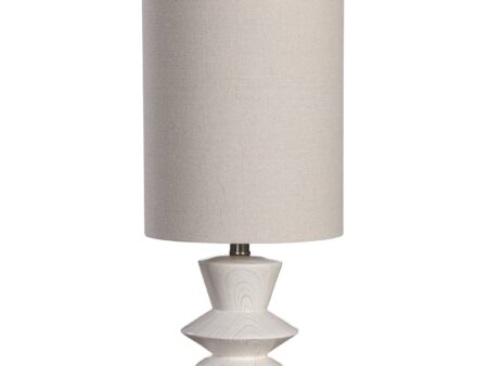 A nod to classic mid-century styling, this buffet lamp has a geometric shaped base with a bleached wood tone look, accented by brushed nickel plated details. A light beige fabric shade accents the piece. 24H, Shade 13H X 10 Dia. (in) 7